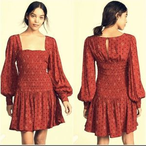 Free People Two Faces Print Mini Dress Size S Red